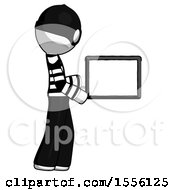 White Thief Man Show Tablet Device Computer To Viewer Blank Area