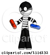White Thief Man Red Pill Or Blue Pill Concept
