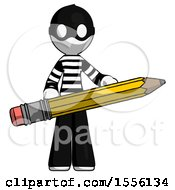 White Thief Man Writer Or Blogger Holding Large Pencil