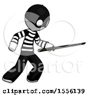 White Thief Man Stabbing With Ninja Sword Katana