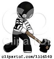 White Thief Man Hitting With Sledgehammer Or Smashing Something At Angle