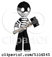 White Thief Man With Sledgehammer Standing Ready To Work Or Defend