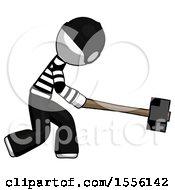 White Thief Man Hitting With Sledgehammer Or Smashing Something