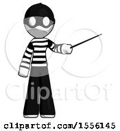 White Thief Man Teacher Or Conductor With Stick Or Baton Directing