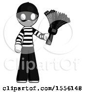White Thief Man Holding Feather Duster Facing Forward