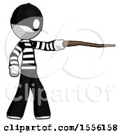 White Thief Man Pointing With Hiking Stick