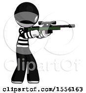 White Thief Man Shooting Sniper Rifle