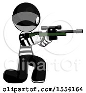 White Thief Man Kneeling Shooting Sniper Rifle