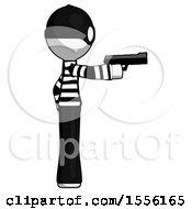 White Thief Man Firing A Handgun