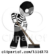 White Thief Man Cleaning Services Janitor Sweeping Side View