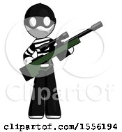 White Thief Man Holding Sniper Rifle Gun