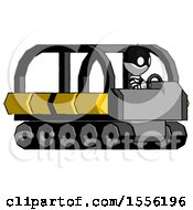 White Thief Man Driving Amphibious Tracked Vehicle Side Angle View