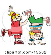 Happy Freckled Blond Little Girl Helping Her Brother Do A Handstand Clipart Illustration