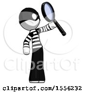 White Thief Man Inspecting With Large Magnifying Glass Facing Up