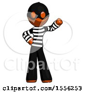 Orange Thief Man Waving Left Arm With Hand On Hip