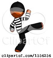 Orange Thief Man Kick Pose
