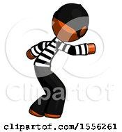Orange Thief Man Sneaking While Reaching For Something