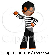 Orange Thief Man Waving Right Arm With Hand On Hip