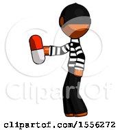 Orange Thief Man Holding Red Pill Walking To Left