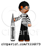 Orange Thief Man Standing With Large Thermometer