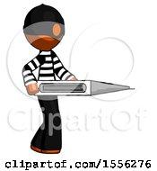 Orange Thief Man Walking With Large Thermometer