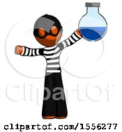 Orange Thief Man Holding Large Round Flask Or Beaker