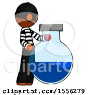 Orange Thief Man Standing Beside Large Round Flask Or Beaker