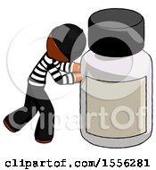 Orange Thief Man Pushing Large Medicine Bottle