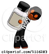 Orange Thief Man Holding Large White Medicine Bottle