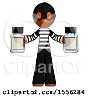 Orange Thief Man Holding Two Medicine Bottles