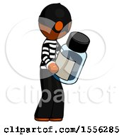 Orange Thief Man Holding Glass Medicine Bottle