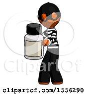 Orange Thief Man Holding White Medicine Bottle