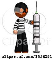 Orange Thief Man Holding Large Syringe