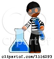 Orange Thief Man Holding Test Tube Beside Beaker Or Flask