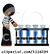 Orange Thief Man Using Test Tubes Or Vials On Rack