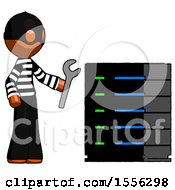 Orange Thief Man Server Administrator Doing Repairs