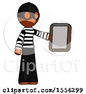 Orange Thief Man Showing Clipboard To Viewer