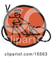 Friendly Biker Flashing A Peace Sign Gesture While Riding Past On A Bicycle Clipart Illustration by Andy Nortnik