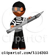 Orange Thief Man Holding Large Scalpel