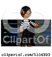 Orange Thief Man With Server Racks In Front Of Two Networked Systems