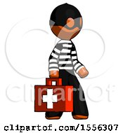 Orange Thief Man Walking With Medical Aid Briefcase To Right