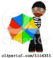 Orange Thief Man Holding Rainbow Umbrella Out To Viewer