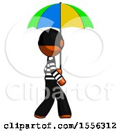 Orange Thief Man Walking With Colored Umbrella
