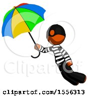 Orange Thief Man Flying With Rainbow Colored Umbrella