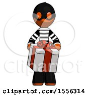 Orange Thief Man Gifting Present With Large Bow Front View