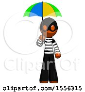 Orange Thief Man Holding Umbrella Rainbow Colored