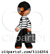Orange Thief Man Walking With Briefcase To The Left