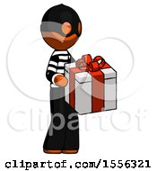 Orange Thief Man Giving A Present