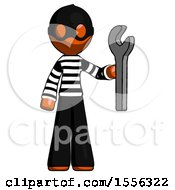 Orange Thief Man Holding Wrench Ready To Repair Or Work