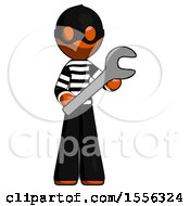 Orange Thief Man Holding Large Wrench With Both Hands